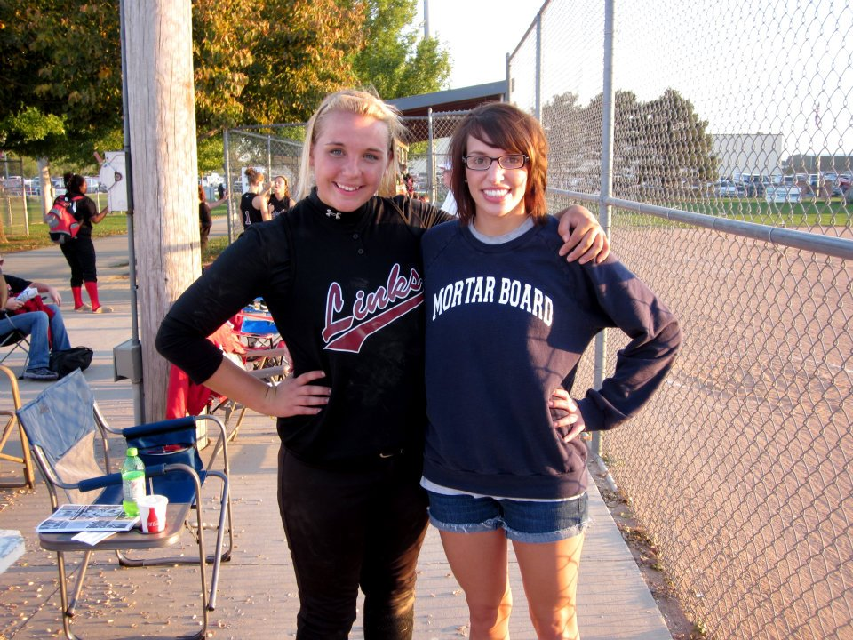 Counselor Niki Littlejohn with Junior Counselor (and softball standout!) Emma Rathe at a Lincoln High athletic event.