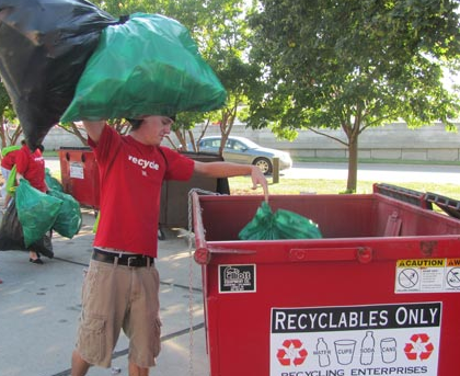 More than 75 student and staff volunteers helped UNL recycle 6,880 pounds of waste after the Oct. 29 Michigan State football game.