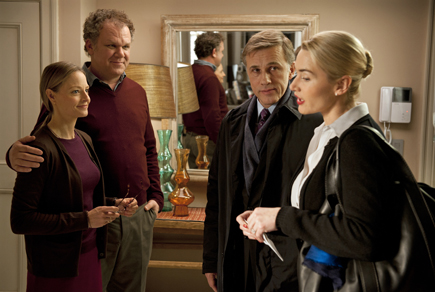 "Jody Foster, John C. Reilley, Christoph Waltz, and Kate Winslet in ""Carnage."""