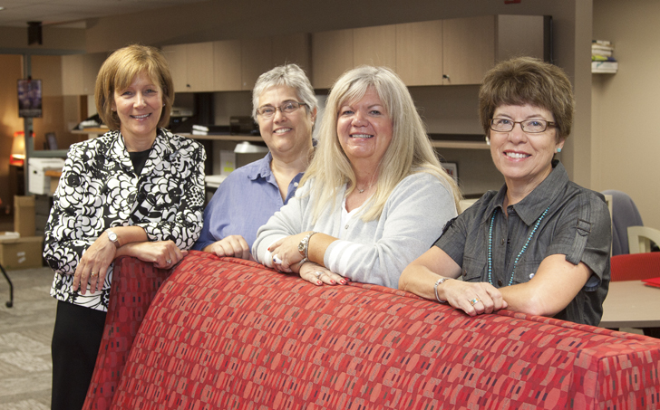 Linda Major (from left), Linda Moody, Kris Baack and Nancy Mitchell are working on Civic Engagement programming and certification.