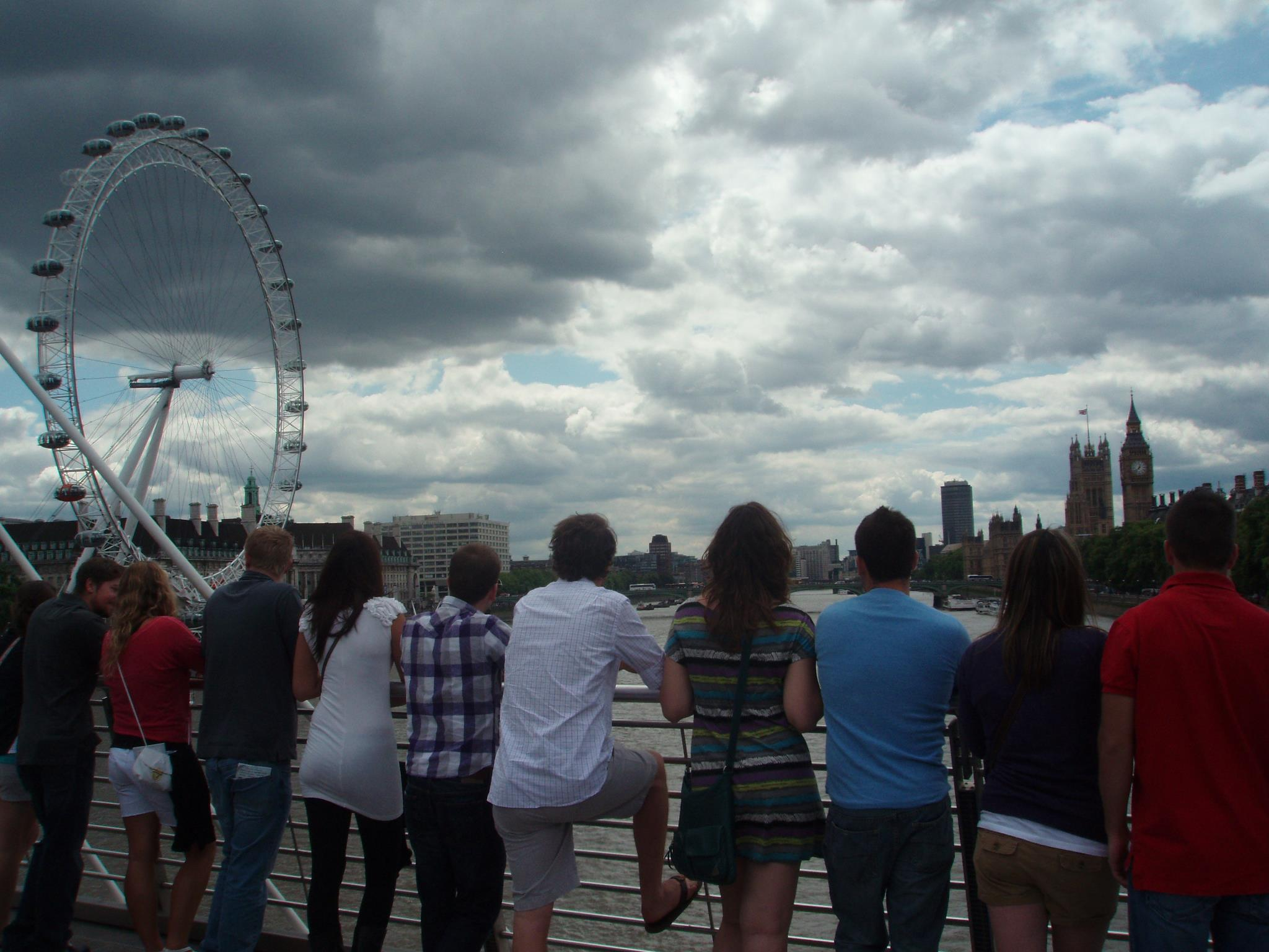 Students enjoy the view of Big Ben, the London Eye, and the River Thames.