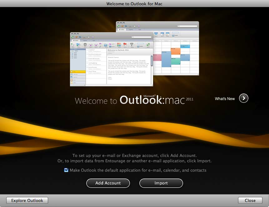 The welcome screen for the Mac-based Outlook email application.