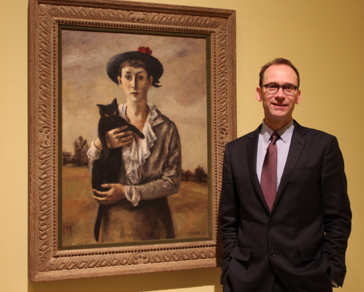 "Brandon Ruud with ""Peggy Bacon and Metaphysic"" a 1935 oil on canvas by Alexander Brook (American, 1898–1980)."