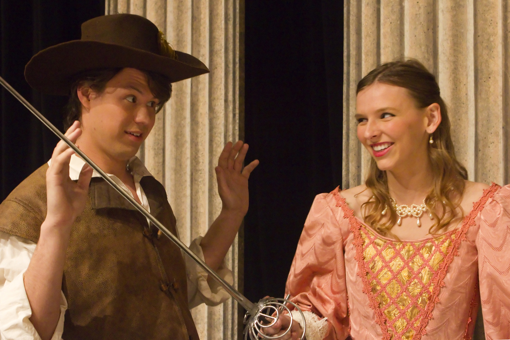 """Jordan Deffenbaugh and Lauren Huston are featured in the University Theatre's production of """"The Three Musketeers."""""""