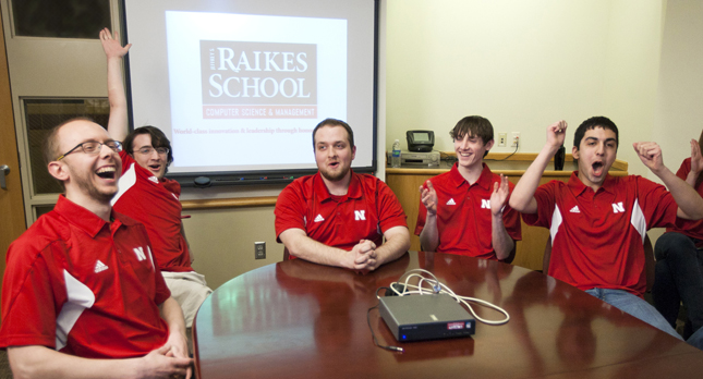 From left: Derek Guenther, Clay Upton, Chris Johnson, Alec Johnston and Neema Bahramzad react with the news of their win.