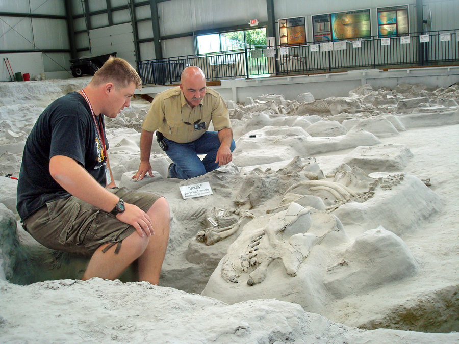 Ashfall intern Bill Mausbach (left) and Ashfall Superintendent Rick Otto discuss a newly found Cynarctus fossil in the ash bed.