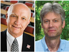 Ronald Hanson and Donald Lee, UNL's first 20-time winners of the UNL Teaching Council and UNL Parents Association contribution to students awards.