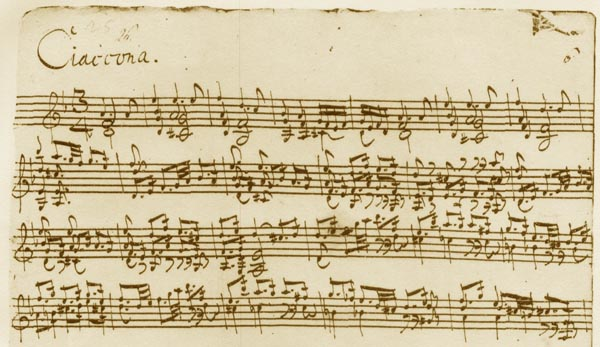 Bach's original manuscript of Ciaconna