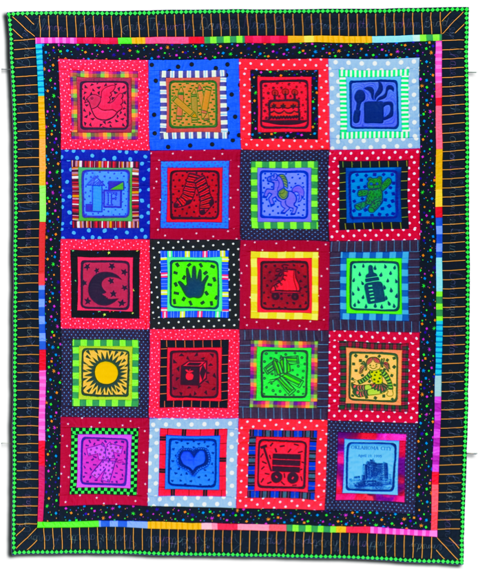 """Jean Ray Laury quilt, """"Memorial for the Child-Victims of the Oklahoma City Bombing,"""" 1996."""