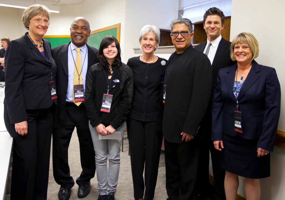 Panelists featured in the launch were (from left) Harvard's Drew Faust and Charles Ogletree; Alyssa Rodemeyer; Kathleen Sebelius; Deepak Chopra; David Burtka; and UNL's Susan Swearer. (Photo courtesy Rose Lincoln, Harvard)