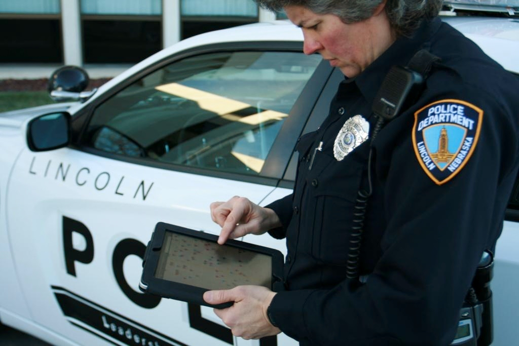 Lincoln Police Officer Mary Lingelbach uses CrimeView NEARme software to locate police points of interest