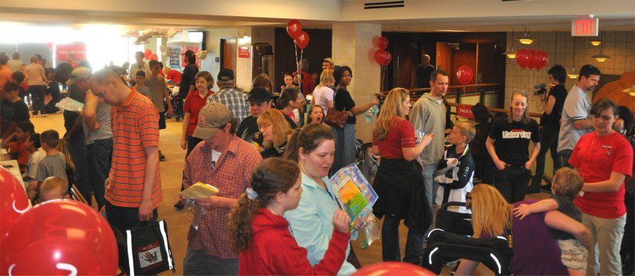 The lobby of Hardin Hall was packed at Weatherfest 2011.