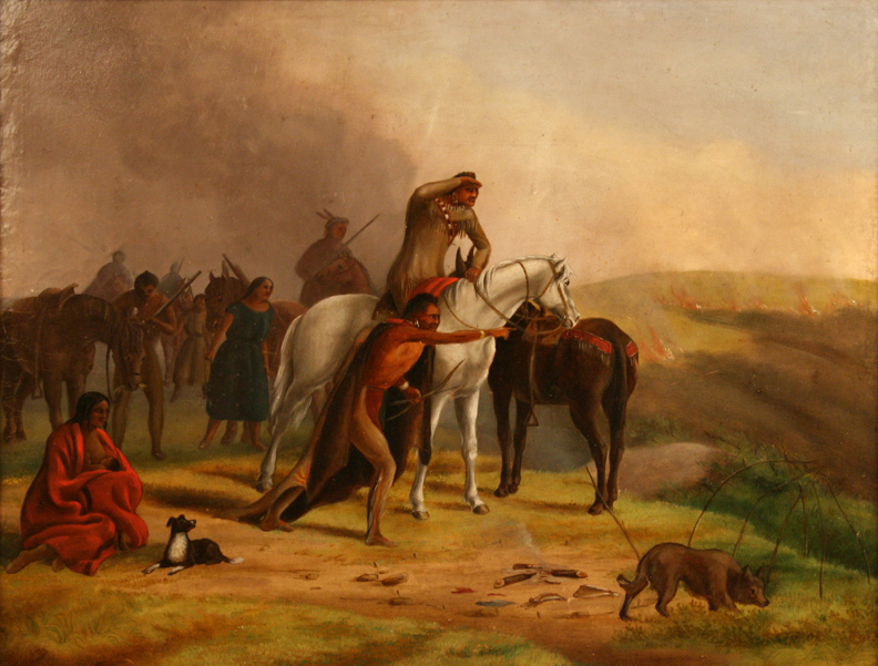 "Alfred Sully, ""Prairie Fire,"" n.d., oil, gift of Dr. John and Elizabeth Christlieb"