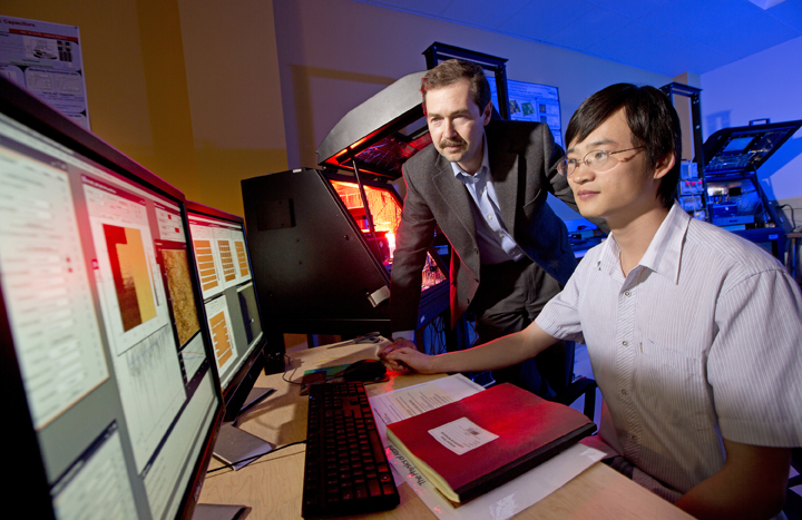 Alexei Gruverman (left) with Haidong Lu, Gruverman's graduate student and the lead author on the paper.