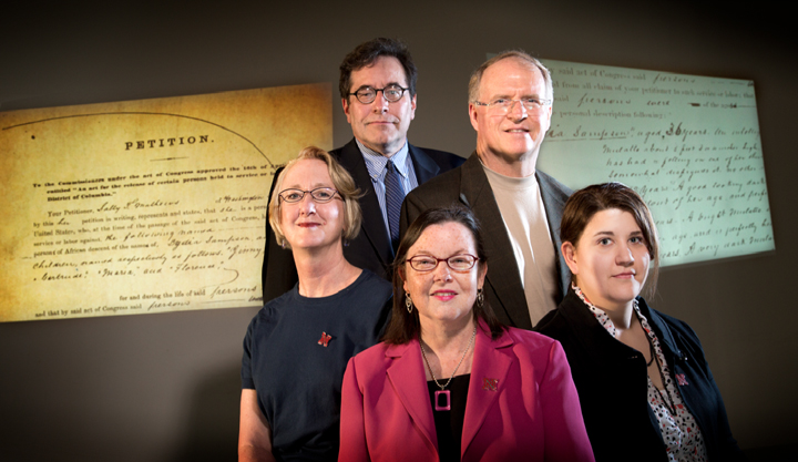 UNL scholars leading Civil War Washington are (left to right) Susan Lawrence, Kenneth Winkle, Katherine Walter, Kenneth Price, and Elizabeth Lorang.