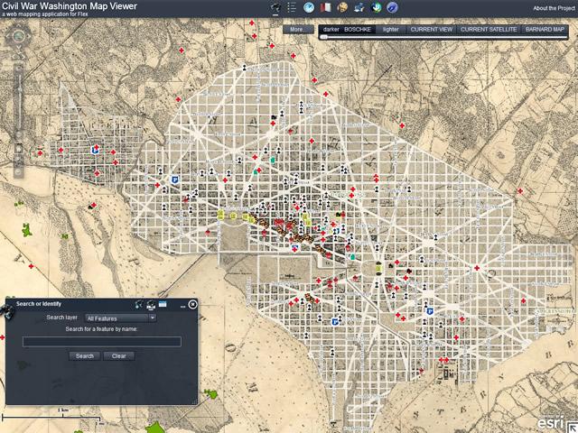 Civil War Washington map viewer at http://civilwardc.org/maps/flex/
