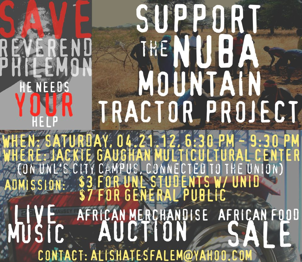 Support the Nuba Mountain Tractor Project  on April 21st at our concert fundraiser at the Multicultural Center!