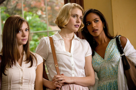 "Carrie MacLemore, Greta Gerwig, and Megalyn Echikunwoke in ""Damsels in Distress."""