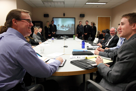Union Pacific representatives meet with marketing students