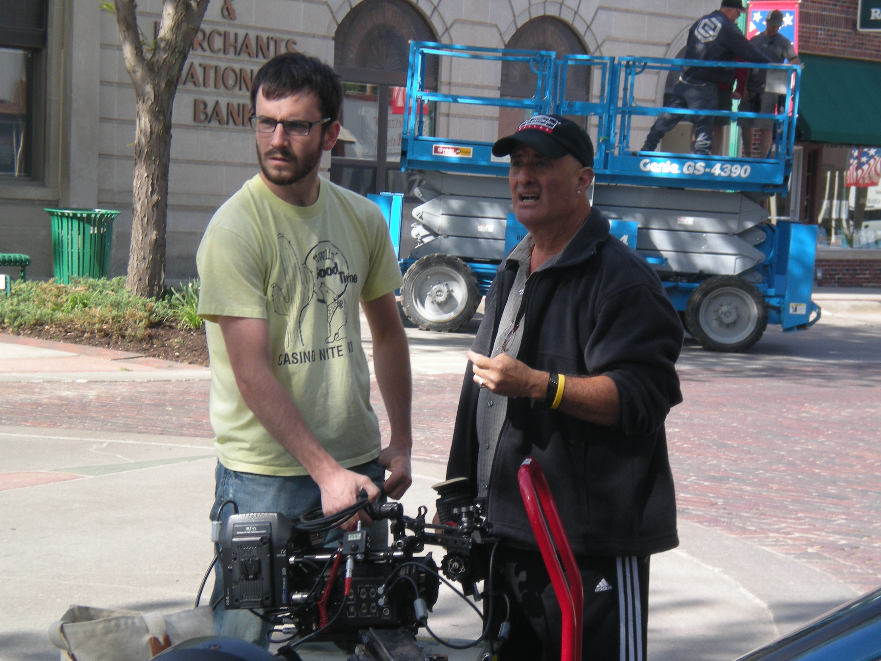 "Johnny Carson School of Theatre and Film student Aaron Nix (left) receives instructions from Camera Assistant Bob Heine during filming of the first Carson Film, ""Vipers in the Grass."""