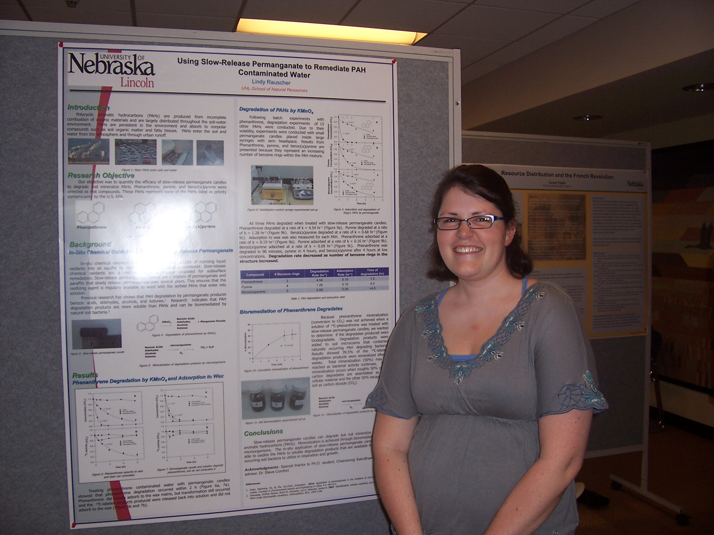 Lindy Rauscher poses with her winning poster on using permanganate to help get rid of hazardous chemicals in the environment.