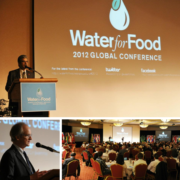 UNL's Prem Paul (top) talks during the opening session of the 2012 Water for Food Conference. The opening event included a presentation by Roberto Lenton (bottom, left), director of NU's Robert B. Daugherty Water for Food Institute.
