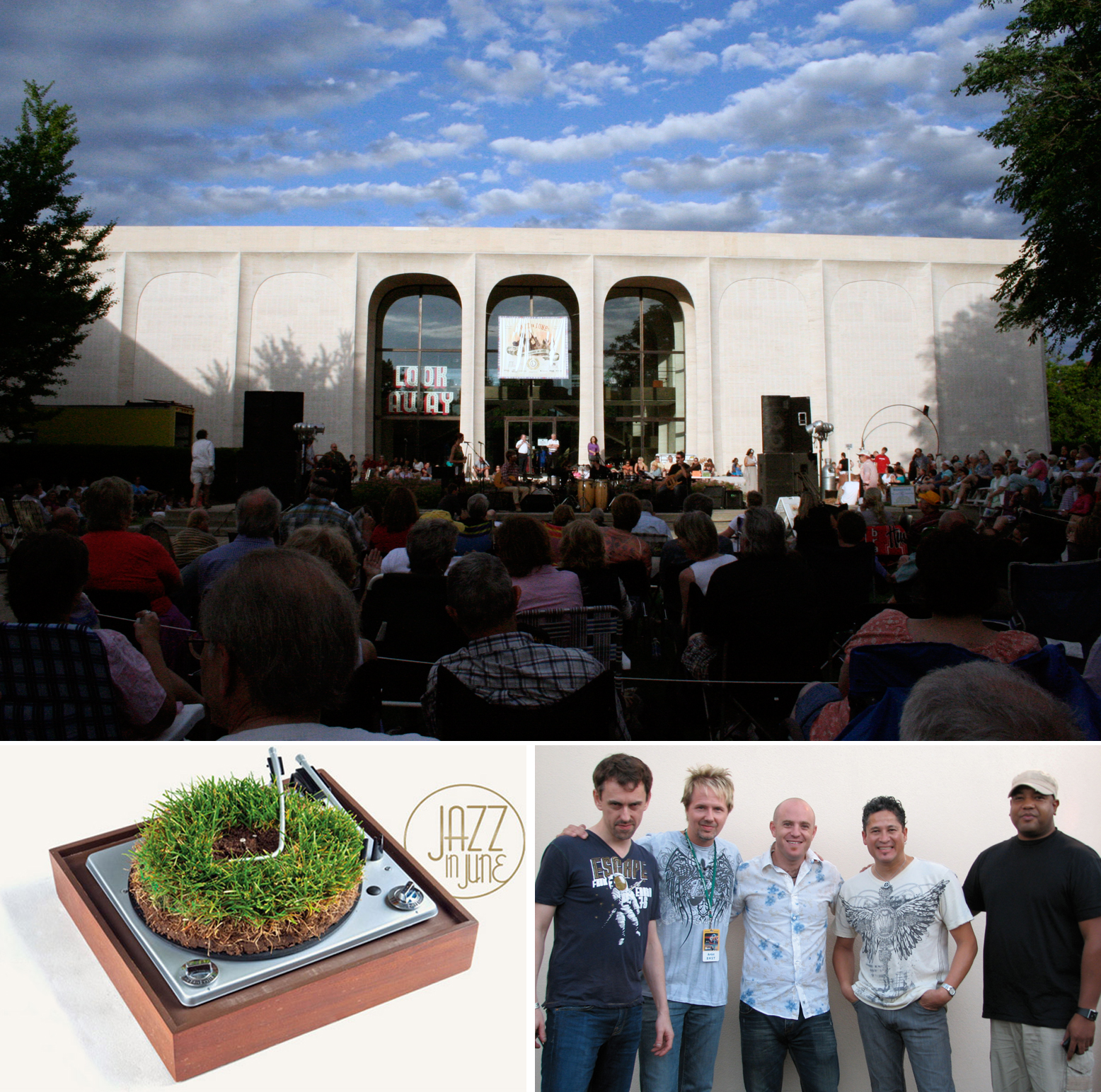 The group TIZER (lower right) opens the annual Jazz in June schedule at the Sheldon Museum of Art (top) today.