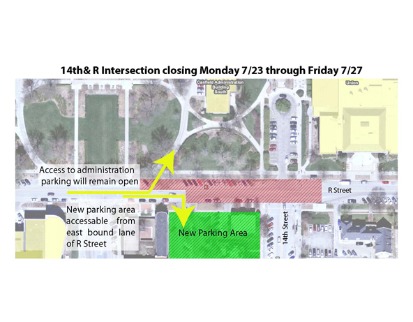 Parking west of Canfield and at the new permit lot at 14th and R will be accessible only from the west.