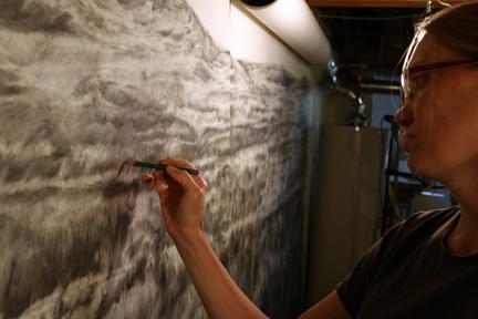 Catherine Meier at work in her studio.