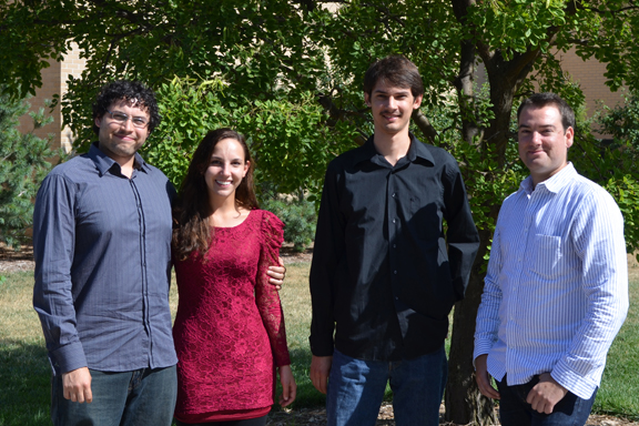 The Skyros String Quartet includes (from left) Justin Kurys, viola; Sarah Pizzichemi, violin; William Braun, cello; and James Moat, violin.