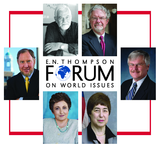 Pictured are Thompson Forum speakers (clockwise from far left) Robert Putnam, Charles Villa-Vicencio, J. Kirk Brown, Michael Radelet, Felice Gaer and Shirin Ebadi.
