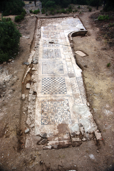 The Roman mosaic measures approximately 25 x 7 meters and served as the forecourt for the adjacent large bath. Hoff's team unearthed about 40 percent of the mosaic this summer and hopes to uncover the rest of the mosaic next summer.