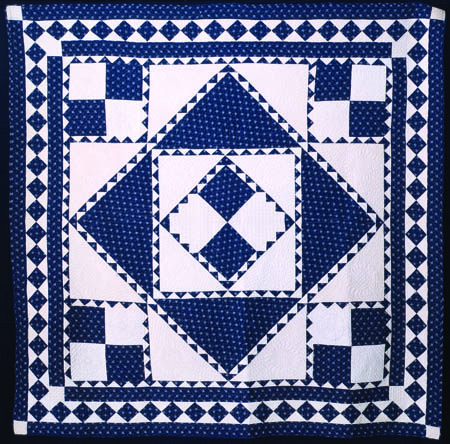 Blue & White Center Diamond Quilt, c. 1900, Pennsylvania