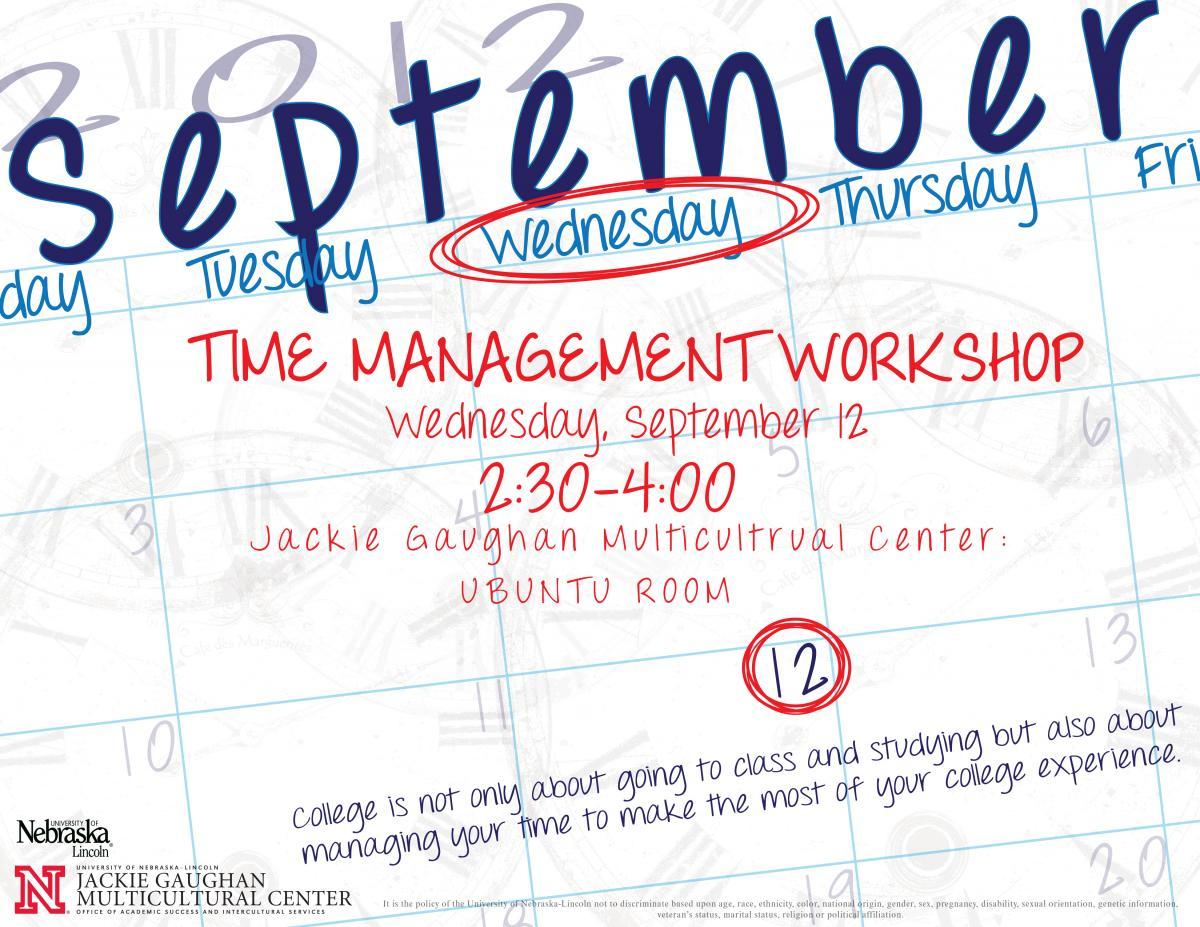 Free time management workshop on sept 12 announce university student time management worskshop is sept 12 altavistaventures Image collections