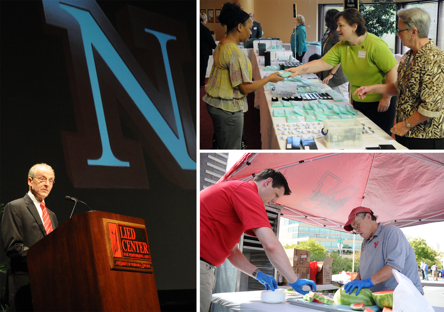 (Clockwise from left) Chancellor Harvey Perlman gives the State of the University address; Teresa Zahren (middle) hands out an Employee Service Award; and Tony Rathgeber and Dodie Fearing cut watermelon for the all-university picnic.