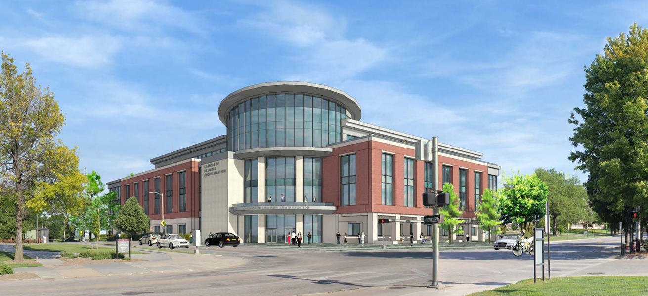 Artist's rendering of the new College of Business Administration that will be built on the southeast corner of 14th and Vine streets.