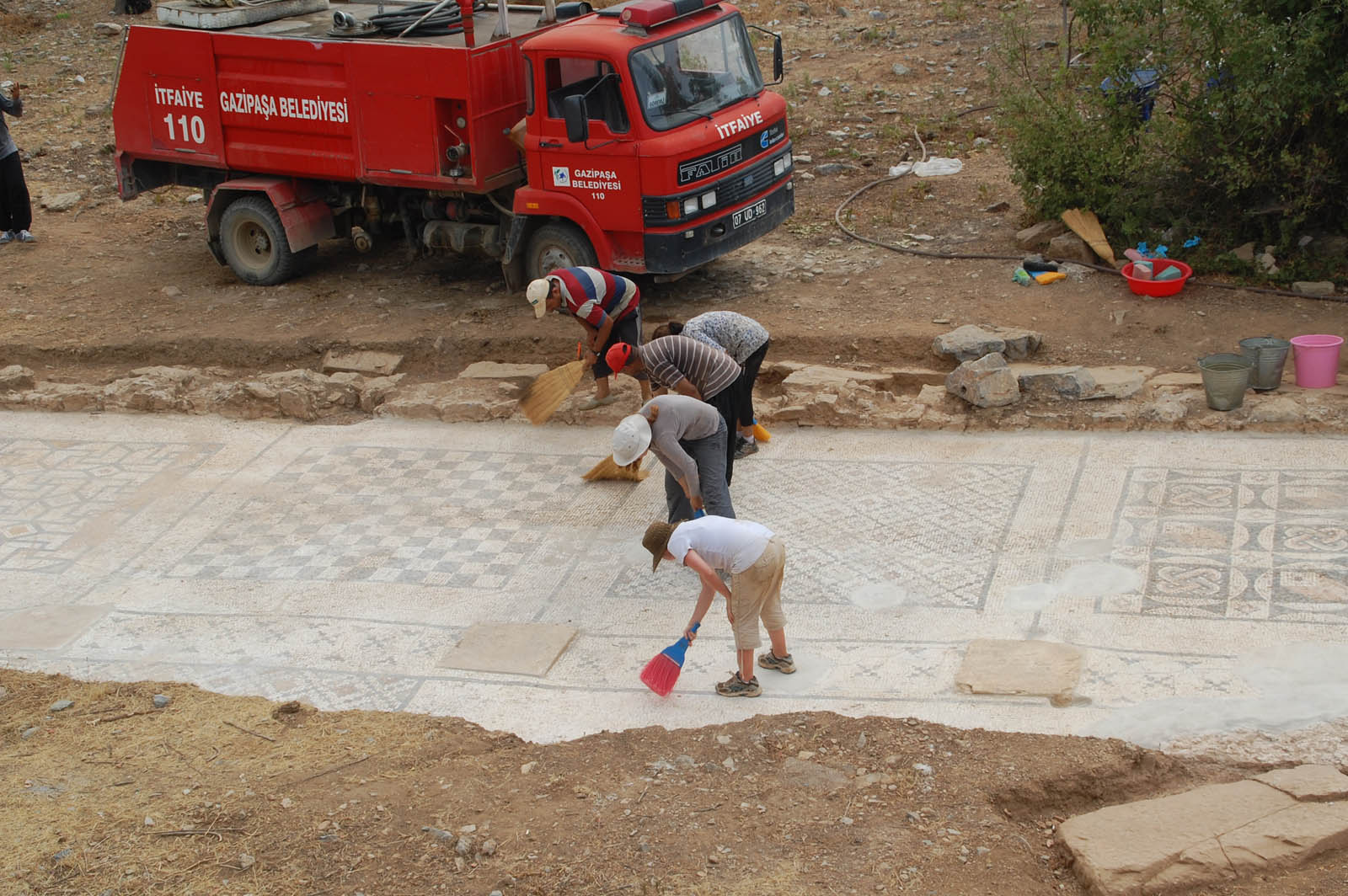 Researchers, students and workers spent two months unearthing and cleaning the mosaic this summer. Watch a video featuring the project at http://www.youtube.com/watch?v=3E8FgKVR7ow.