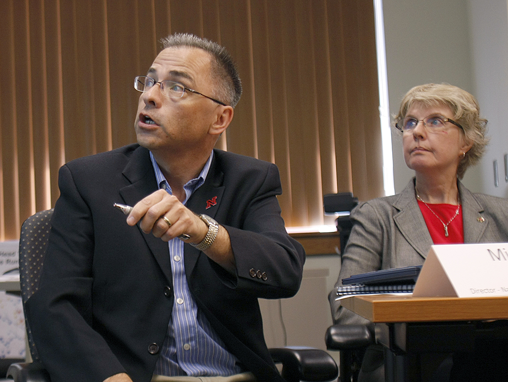 Michael Hayes, director of UNL's  National Drought Mitigation Center at the School of Natural Resources, discusses the 2012 drought as UNL Extension educator Sharon Skipton looks on during a briefing earlier this year.