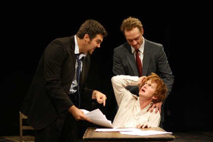 "Actors (clockwise from left) Nate Releaux, Devon Schovanec and Mike Lee act out a scene from the Theatrix production of ""The Pillowman."""