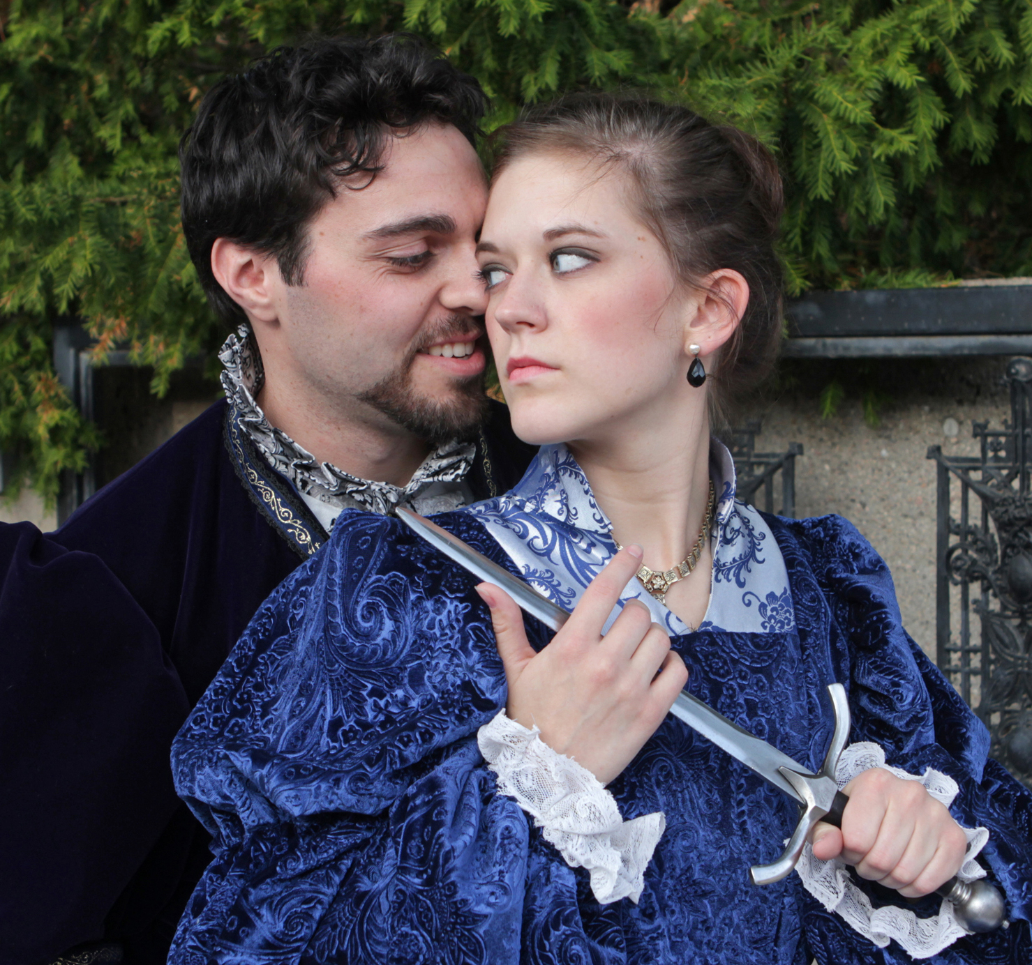 "The University Theatre production of ""Agravio"" features David Michael Fox as Don Juan and Kayla Klammer as Dona Leonara. Photo by Doug Smith"