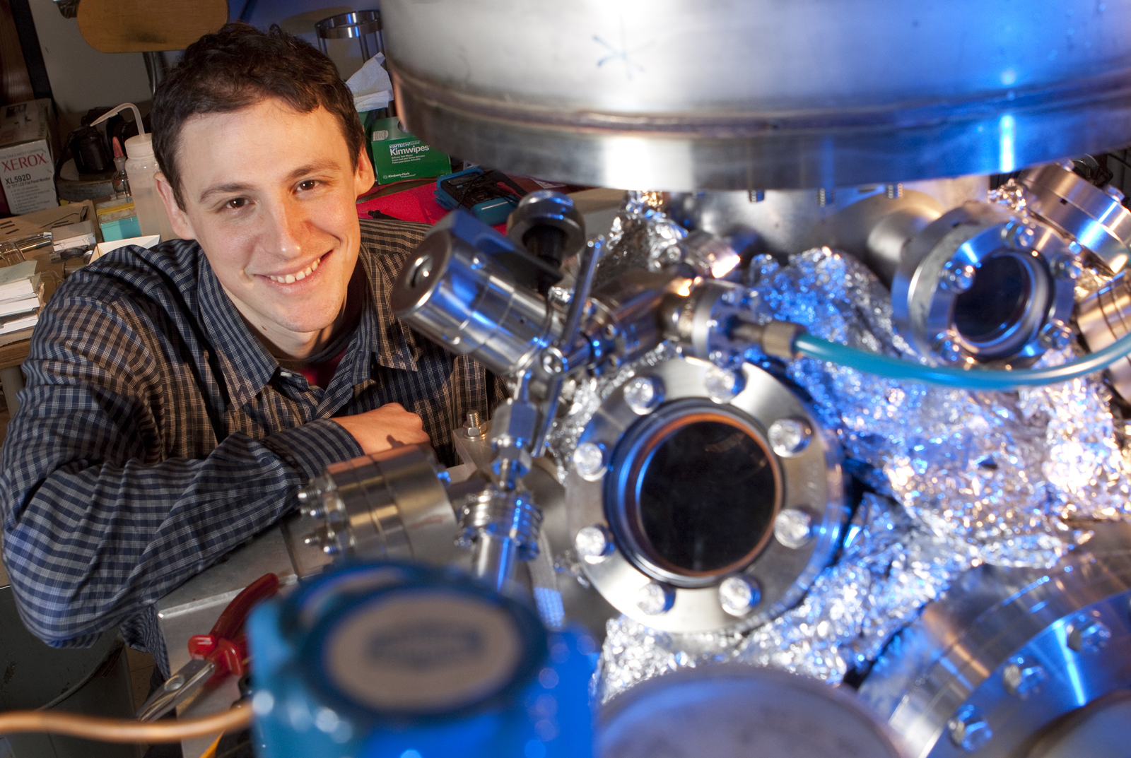 A team lead by Martin Centurion has developed a method to capture 3-D images of molecules undergoing structural changes. The method includes using a vacuum chamber similar to the one pictured.