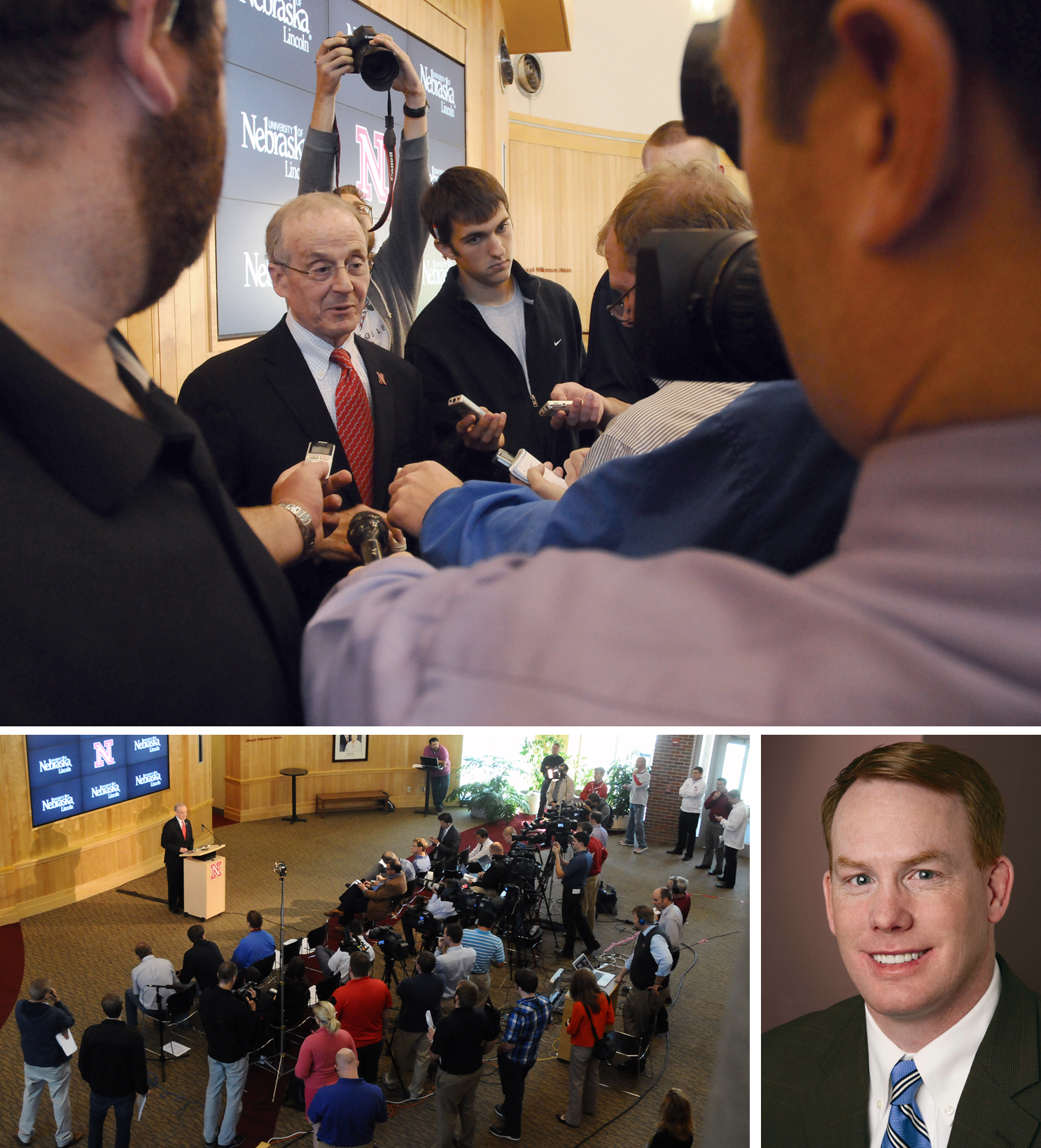 Chancellor Harvey Perlman answers reporters' questions following a media briefing Oct. 4 to answer questions about new A.D. Shawn Eichorst, pictured in inset at right