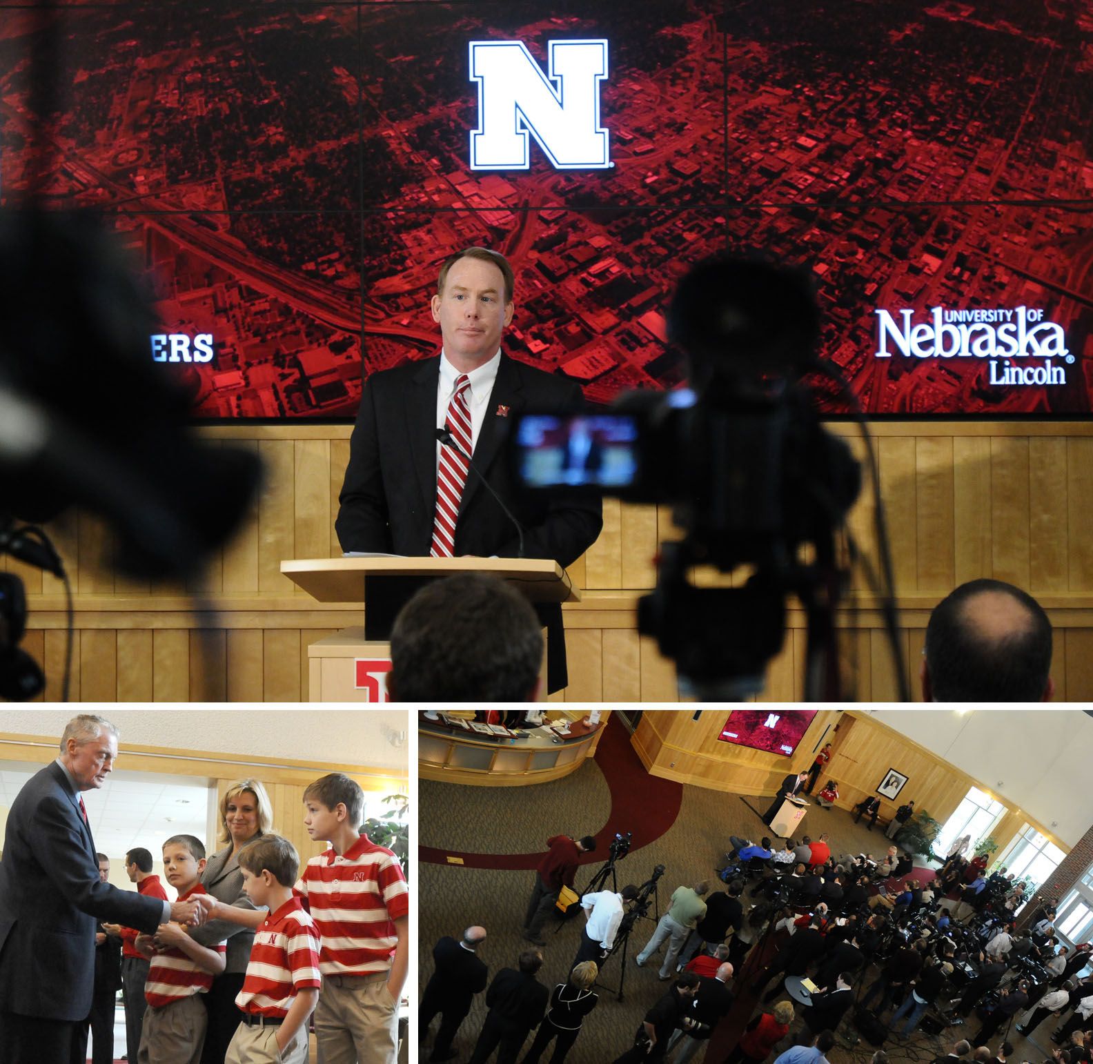 Shawn Eichorst was introduced to local media as UNL's next AD on Oct. 9. His family (pictured at bottom left with current AD Tom Osborne) attended the announcement.