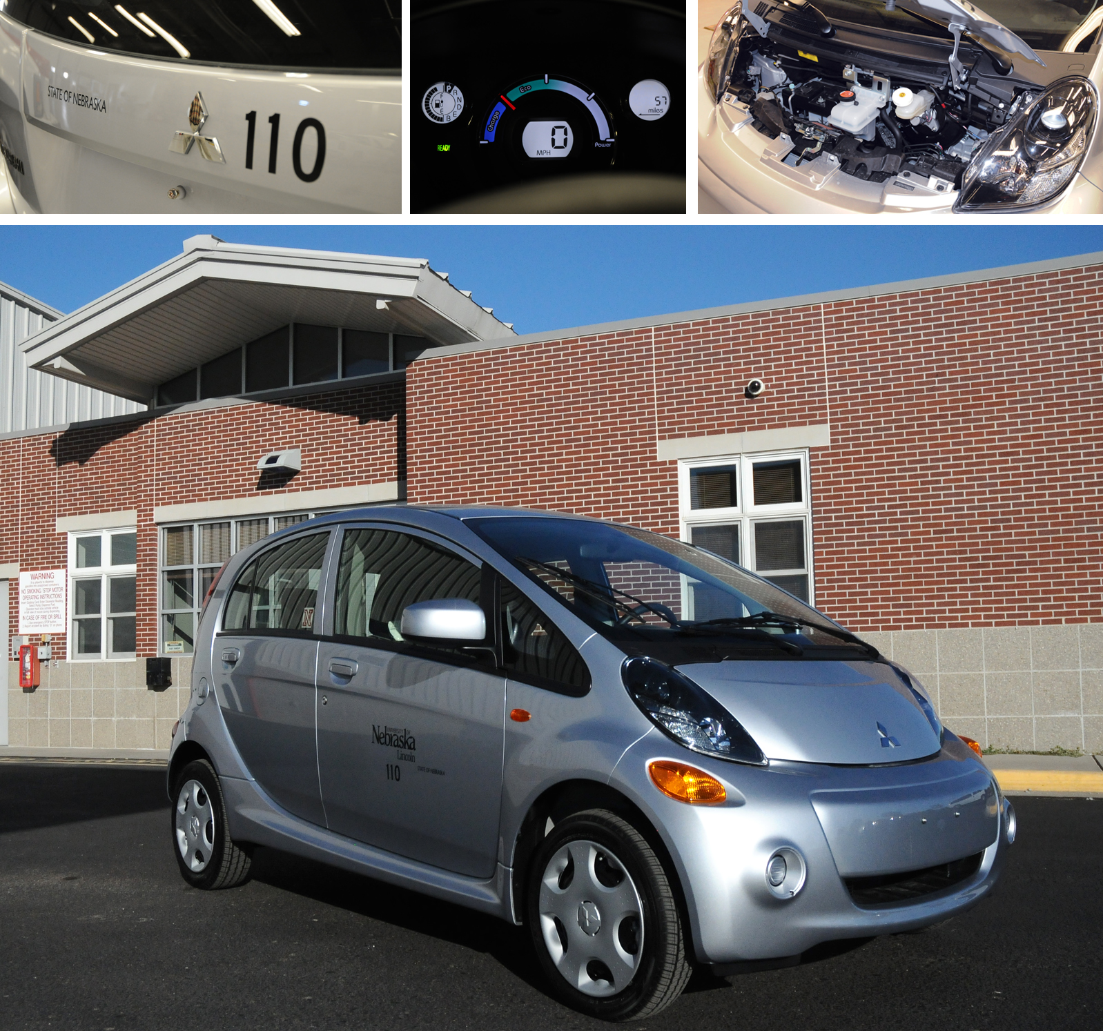 Starting Friday, Courier Servies will use the Mitsubishi i-MiEV electric cars to make campus deliveries.