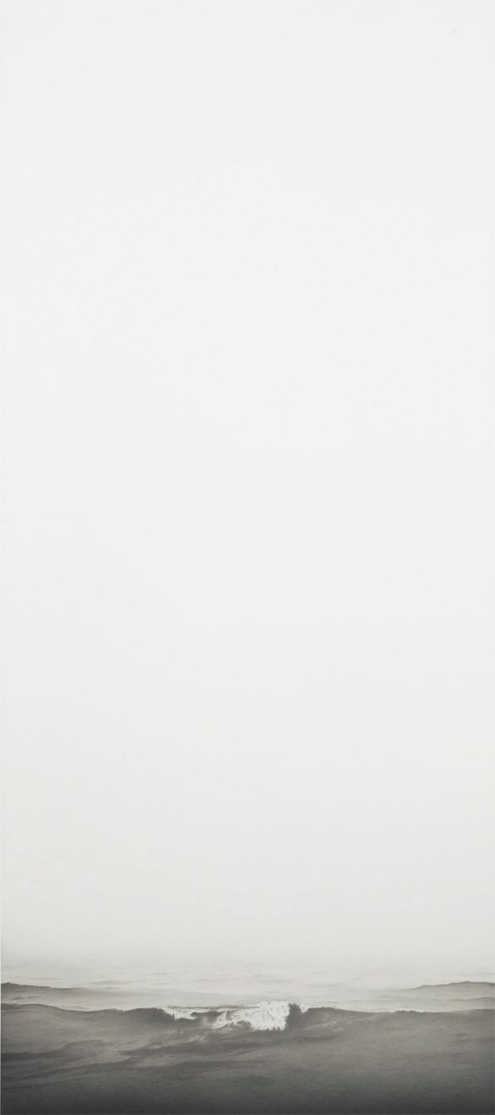 "Francisco Souto, ""Seascape #3 Barcelona, Spain,"" 2011, graphite on paper, 23 x 60 inches."