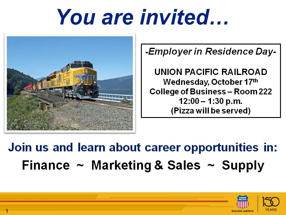 Union Pacific is this week's CBA Employer in Residence on Wednesday, October 17.