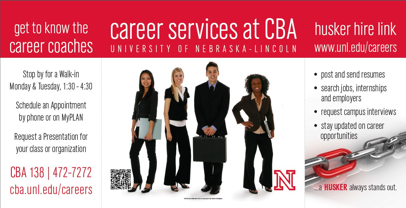 Career Services at CBA can help you decide on a major, minor or career. Visit the CBA Career Coaches in CBA 138!