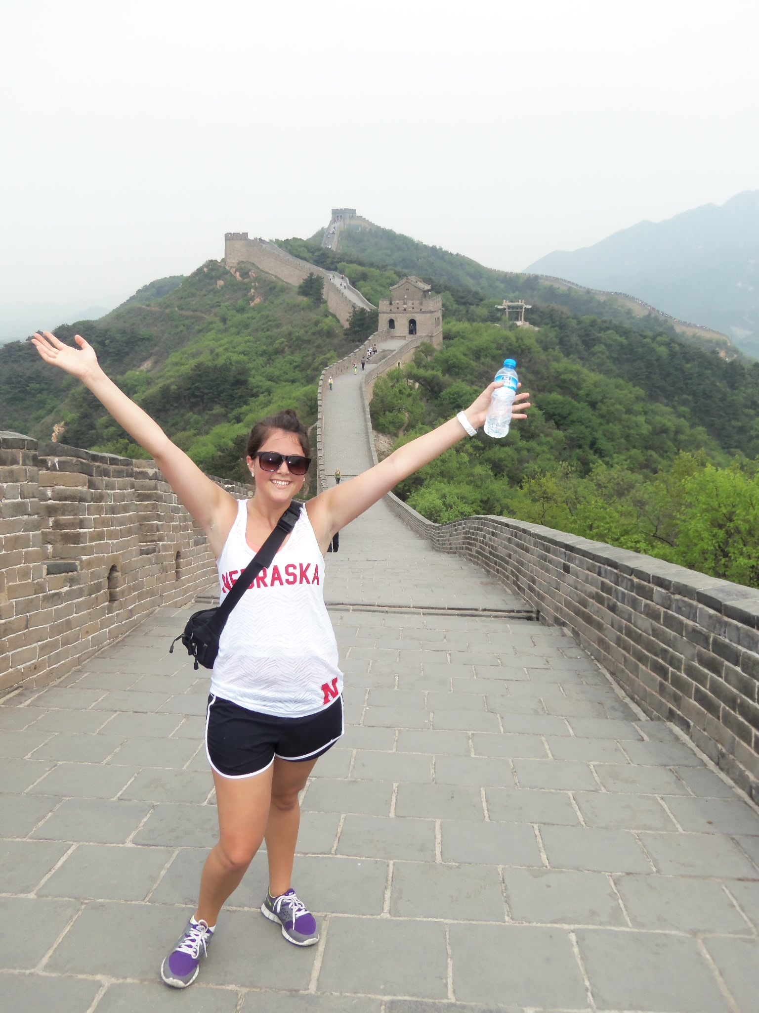 Katie Ortmeier representing Nebraska on the Great Wall of China