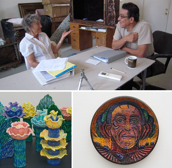 "(clockwise from top) Eddie Dominguez with Lucy R. Lippard in a conversastion for the exhibition catalogue; ""Rain Cloud,"" 2009, ceramic; ""Anton's Flowers"" (detail), 2005-2012, ceramic and mixed media assemblage. Photos courtesy of the Roswell Museum of Art"