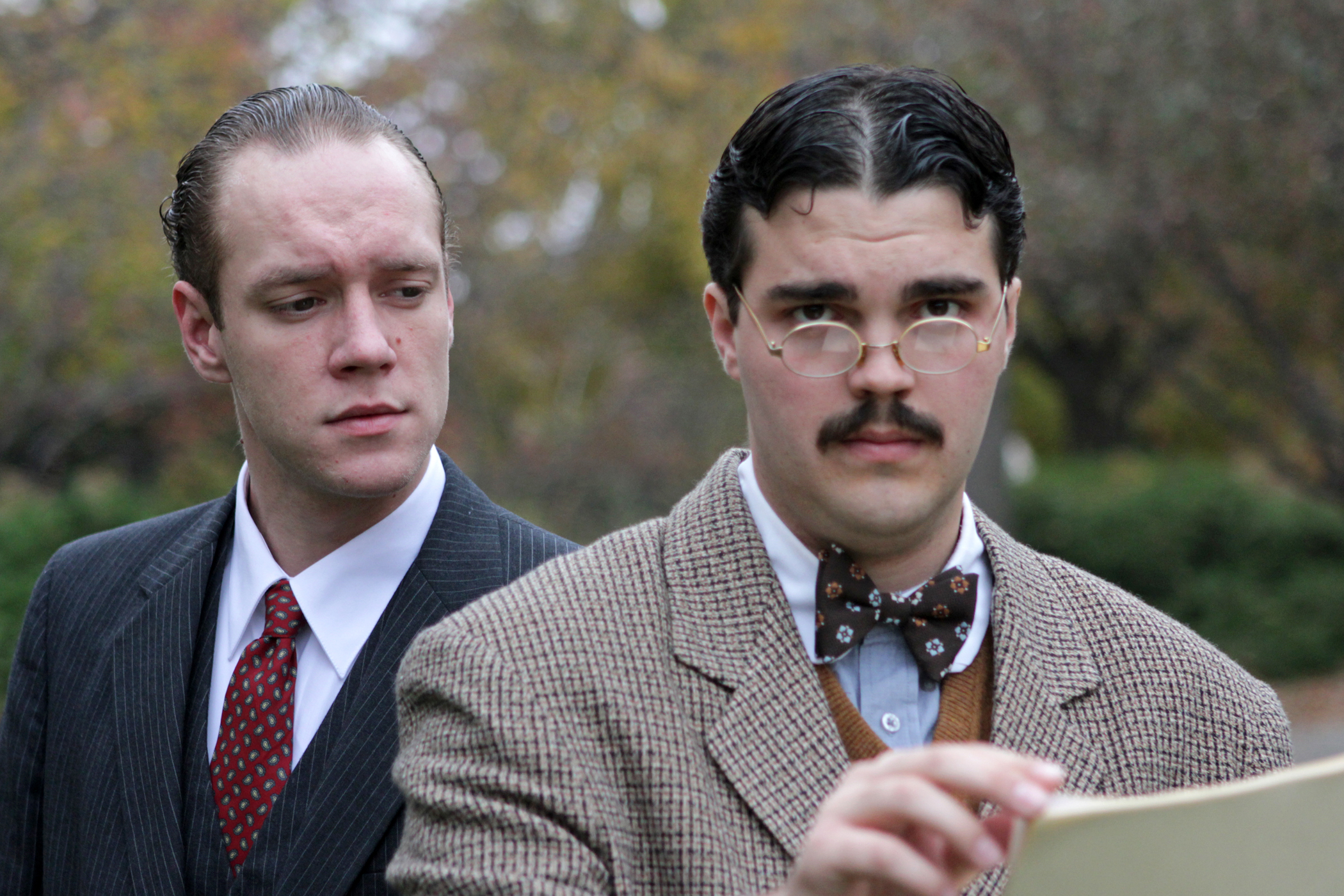"""(From left) Devon Schovanec and Nate Ruleaux are featured in the University Theatre production of """"Paragon Springs."""""""